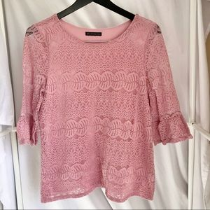 Adrianna Papell 3/4 Bell Sleeve Lace Top